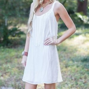 B2G1 Judith March White Fringe Criss Cross Dress